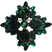 Vintage 1950's Multilayered Green Rhinestone Brooch