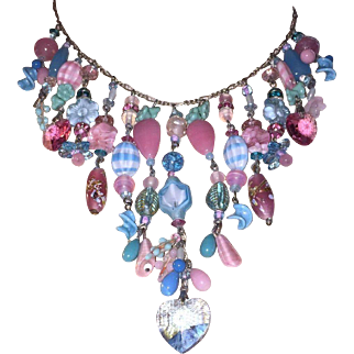 Vintage Glass Flower & Bead Sterling Silver Necklace