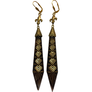 Vintage Art Nouveau Brown Glass Czech Earrings