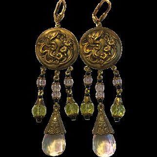 Vintage Pink & Green Czech Glass & Medallion Earrings
