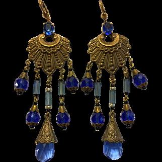 Vintage Egyptian Revival Blue Czech Glass Earrings