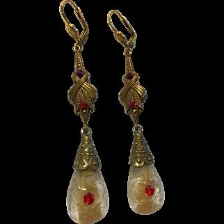 Vintage Czech Glass Swirled Drop Signed Earrings