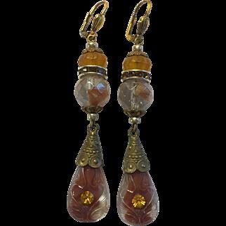 Vintage Art Nouveau Czech Glass Signed Drop Earrings