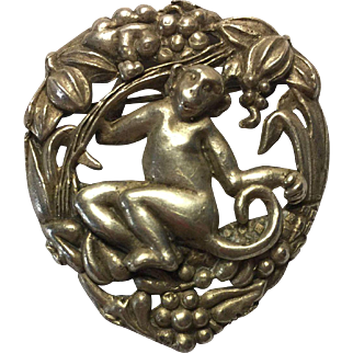 Antique Silver Monkey in Heart Shaped Jungle Pin