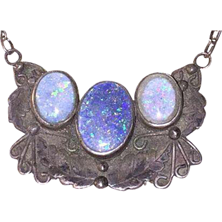 Antique Sterling Silver & Opal Pendant Necklace