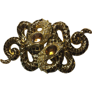 Vintage Enamel & Rhinestone Double Snake Pin/Pendant