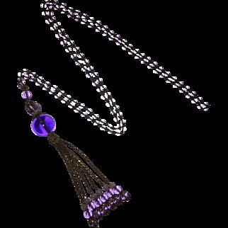 Victorian Amethyst Glass Lavalier Tassel Necklace