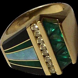 Bagley & Hotchkiss Signed 14K Yellow Gold & Inlay Ring