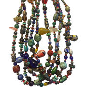 Multi Strand Glass Trade Bead Necklace