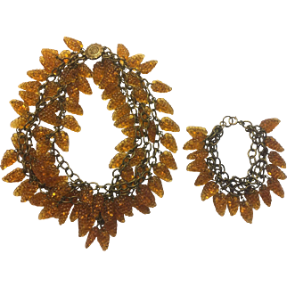 1930's Glass Amber Grapes Set Necklace & Bracelet