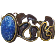 Mid Century Modern Lapis Panel Bracelet