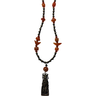 Antique Chinese Sterling SIlver & Carnelian Pendant Necklace