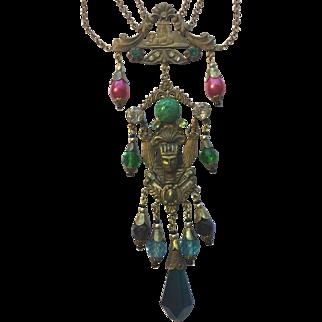 Vintage Czech Glass Egyptian Revival Handmade Necklace
