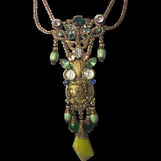 Vintage Czech Glass Festoon Style Necklace