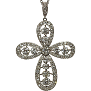 Large Platinum Art Deco Diamond Cross