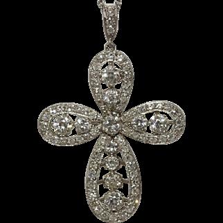 Large Platinum Art Deco Diamond Cross