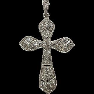 Platinum Art Deco Large Cross