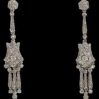 Fine Platinum Art Deco Diamond Dangling Earrings 3.34cttw 11.8grams