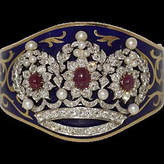 Wide 14k Yellow Gold Platinum Victorian Enamel Bangle Bracelet Ruby Pearl Diamond
