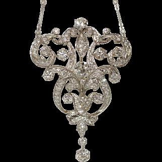 GIGANTIC Platinum Art Deco Diamond Necklace