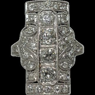 Large Platinum Art Deco Diamond Dinner Ring size 7.25