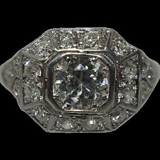 Art Deco Platinum Engagement Ring 1ct Center Stone