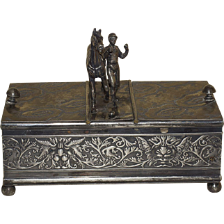 Sterling Silver Antique Humidor Horse Racing Theme