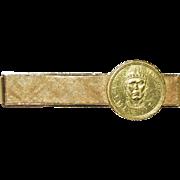 Vintage 18k Yellow Gold Tie Clip with 1950s Venezuela Manaure Gold Coin