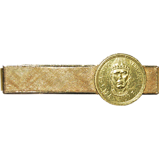 Vintage 18k Yellow Gold Tie Clip with 1950s Venezuela Manaure Gold Coin