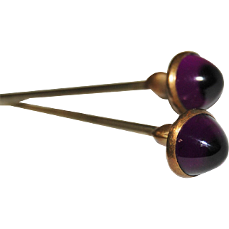Set Of Two Cabochon Amethyst Edwardian Hat Pins