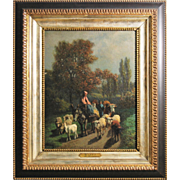 """Guillame Wintz 1823-1899 Framed Oil Painting on Canvas 18"""" x 15"""" Le Troupeau"""