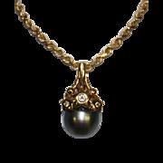 Vintage 10mm Cultured Tahitian Black Pearl Pendant 18k Gold Setting &  Diamonds 14K Gold Chain