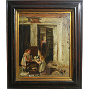 Tom McEwan R.S.A. Framed and Signed Oil Painting on Wood Board of Two Girls Playing