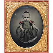 Medical Rarity Ambrotype of Child With Apparent Macrocephaly 6th Plate In Full Case Hand Colored Circa 1865