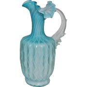 Victorian Cased Satin Quilted Art Glass Pitcher With Spiky Thorn Handle Iridescent Pearl Sky Blue