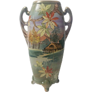 """Royal Nippon 12"""" Vase with handles and footing"""