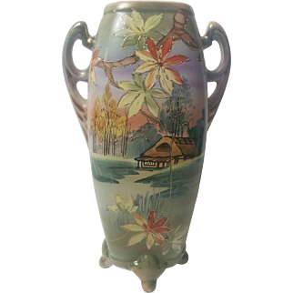 "Royal Nippon 12"" Vase with handles and footing"
