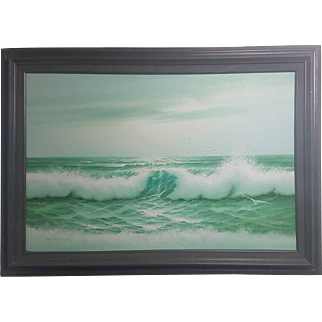 Beautiful Mint Green and White Seascape Painting