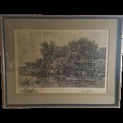 W.C. Bauer (1862-1902) and Albert Bellows (1829-1883) Landscape Etching