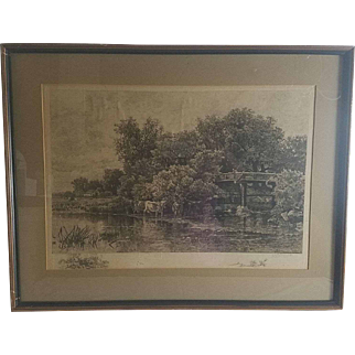 W.C. Bauer (1862-1902) and Albert Bellows (1829-1883) Landscape Etching
