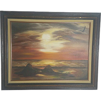 """Color of Evening"" Seascape Oil Painting by Dorthea M. Mills 1981"