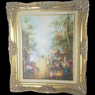 Zoran Jelascek Flower Mart scene Original Oil Painting.