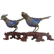 Pair of Silver Cloisonne Pheasants