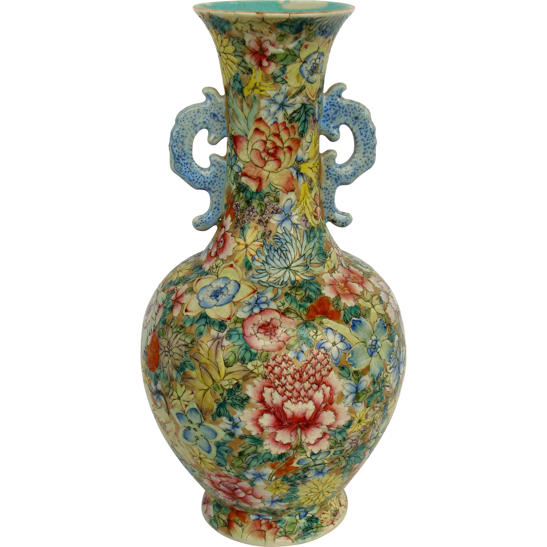 chinese mille fleur vase from asia of old on ruby lane. Black Bedroom Furniture Sets. Home Design Ideas
