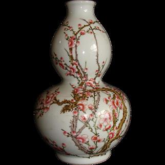 Famille Rose Plum Rose Vase
