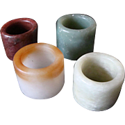 Chinese Set of 4 Jade Archers Rings
