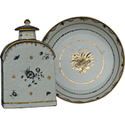 Chinese Tea Caddy and Saucer