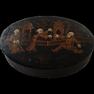 Chinese Antique Papier  Mache Snuff/Trinket Box c1890