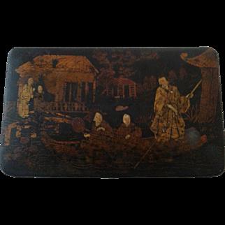 Antique Chinese Lacquer Paper Mache Box Gilt Figures Box