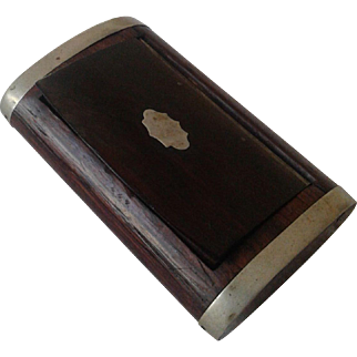Vintage Wood and Silver Snuff Box